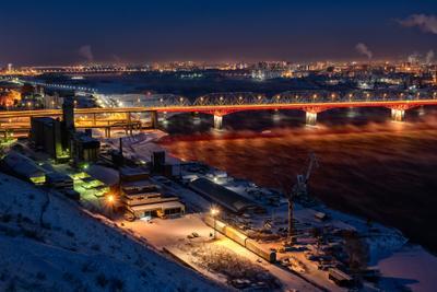 *** Красноярск ночной город река вечер