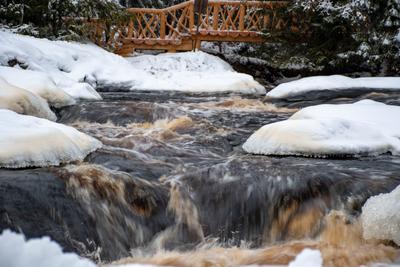 Водопад Карелия парк Ахвенкоски водопад Рускеала зима