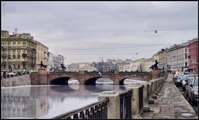 Аничков мост Санкт-Петербург Фонтанка Аничков мост кони Клодта весна лед на реке