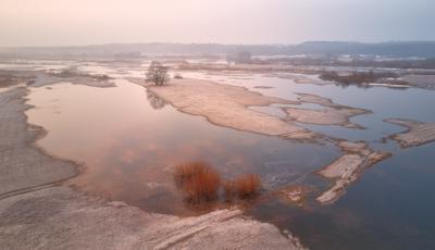 Утро на весеннем Немане Беларусь Весна Март Неман Разлив Рассвет Туман Утро