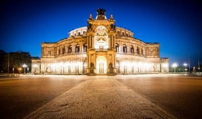 Опера Земпера в Дрездене Дрезден Ночная съёмка Опера D3foto