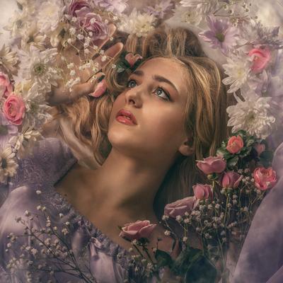 Катя девушка портрет камерный_портрет студия цветы