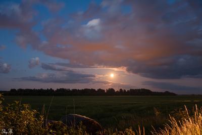 Ночное поле поле ночь пейзаж