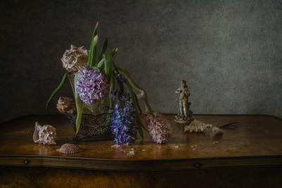 Под тяжестью соцветий натюрморт стекло цветы гиацинты ракушки статуэтка