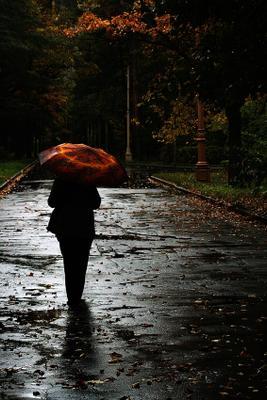 Осень шла по аллеям.. Я шла тихо за нею.. осень дождь аллея зонтик прохожие