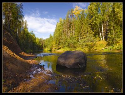 На маленькой таежной речке (200!) осень речка камень валун тайга