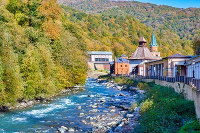 Осень в горах Россия Сочи Красная поляна Северный Кавказ осень день