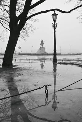 И о весне... Петербург весна туман Медный Всадник