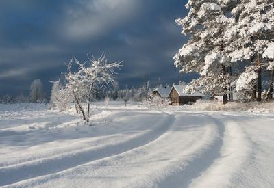 Хуторок Снег колея хутор дом зима