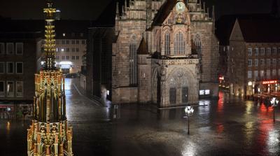 Площадь. Фрагмент с фонарём город дождь нюрнберг