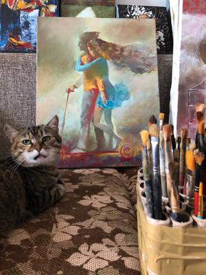 ценитель искусства тиграша.картина.чубаков.кисти.питомец.кошка