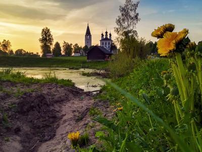....... Село Красное Палехский р-он Ивановская обл .пейзаж закат отражение храм .Фото .Сайт