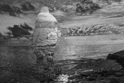 Растворилось в памяти Море черно-белое коллаж photoshop