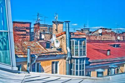Открытка. Крыши Петербурга Питер крыши небо цвет