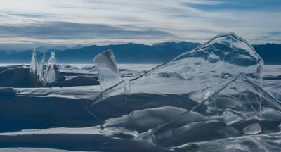 over depth зимний Байкал ледяные торосы Baikal at winter ice