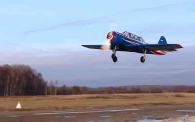 Як-52 аэродром Кудиново Як-52 зима взлет полёты