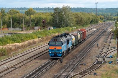 Тепловоз 2ТЭ116У-077 с грузовым поездом следует через станцию Цна Железная дорога подвижной состав тепловоз Тамбов Цна 116