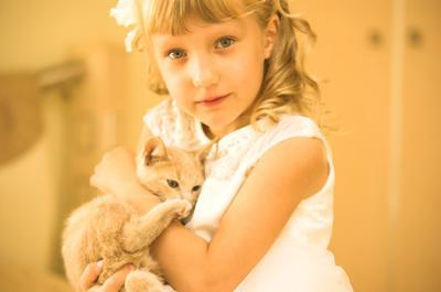Девочка с котёнком девочка котёнок