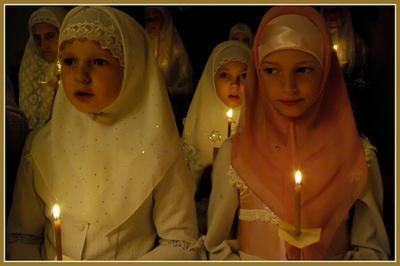 В Пасхальную ночь. Пасха,дети,храм,потеряевка