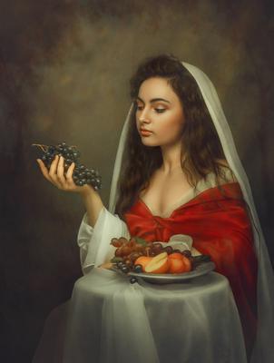 Портрет девушки с виноградной гроздью.