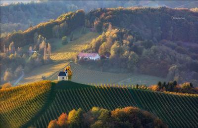 ОСЕННИЙ КАЛЕЙДОСКОП dreisiebner kapelle свет часовня штирия chapel гамлитц австрия gamlitz- sernau landscape панорама осень