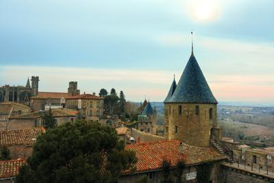 *** Каркассон Франция замок крепость крыши небо