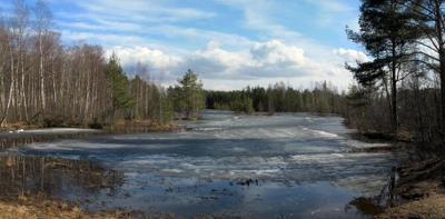Апрель озеро весна лед небо