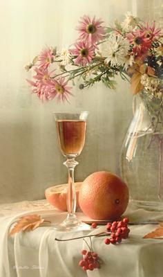 *** цветы , натюрморт , апельсин