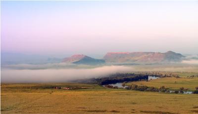 Гора Чёрная Хакасия пейзаж краеведение туризм туман гора горы река утро Чёрная mamanna2007