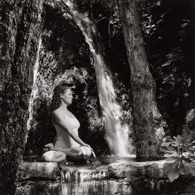 Yoga, Padmasana yoga, padmasana, stylization, lotus, waterfall, pond, asana, image