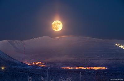 Полнолуние над Кировском и мороз -30 Кировск Хибины Заполярье мороз луна огромная мурманская область