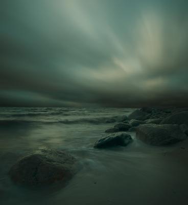 Сон Финского залива №9 Olympus E-510, длинная выдержка, long exposure, закат, вечер, осень, Финский залив, волна, небо, камни