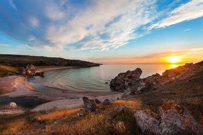 Вечернее умиротворение крым море азов дикий пляж красота закат скалы путешествие палатки 4х4 вечер