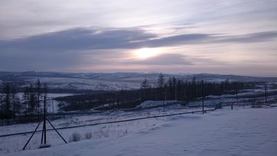 Холодный закат закат зима холод снег вечер