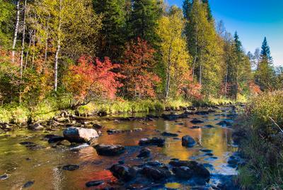 Большой Киалим природный парк Таганай Южный Урал Большой Киалим река вечер осень