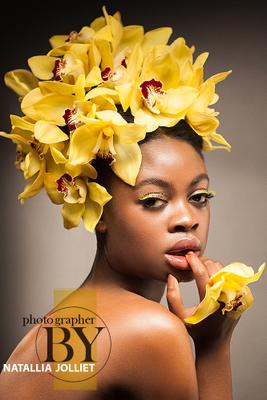Yellow orchid 2 beauty portrait fashion woman model style glamour yellow orchid flowers