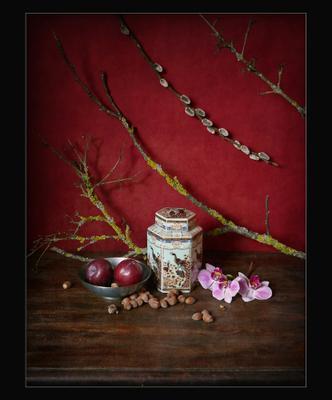 Чайная баночка и ветки на красном красный натюрморт Азия азиатский с орхидеей ветками орхидея сливы