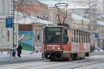 Пермский трамвай трамвай зима пермь