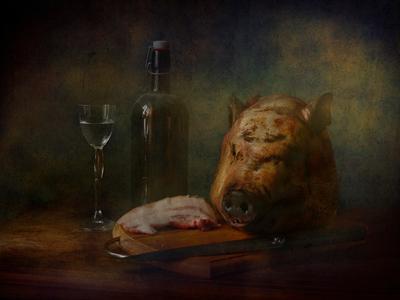Праздничный ужин со свиной головой натюрморт свиная голова сюр ванитас