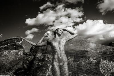 скульптура ню живот грудь топлесс руки сеть сетка небо камни чб облака лицо профиль