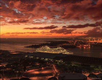 Гавайский вечер. гавайи сша оаху закат панорама
