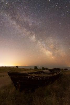 Лодка Ночь лодка звезды море Млечный Путь