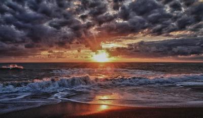 Закат закат, море, кипр, облака, тучи, волны