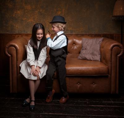 Кира и Лев Студийный портрет Арт детский фотосессия
