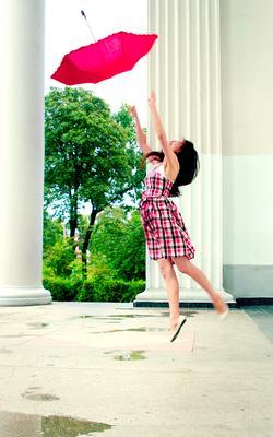 Мерри Поппинс зонтик девушка прыжок