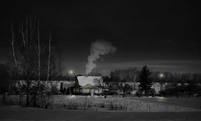 ***Зимняя ночь в деревне.