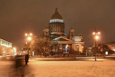 Гоголевские фантомы Исаакиевский собор Санкт-Петербург зима вечер