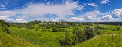 Панорама Холохольни и окрестностей панорама село окрестности реки Волга Холохольня небо холм красота