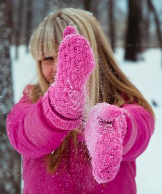 First snow. Winter, snow, girl