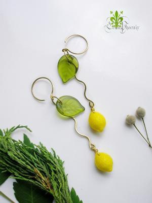 Кисленькое украшения серьги Лена Феникс авторские цитрус лимоны